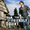 "paraka: Dean as tall as the building he's standing next to with the caption ""Sam, the Friendly Giant"" (SPN-S-Friendly Giant)"