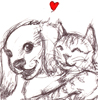 esotaria: A drawing of a cat hugging a puppy with a little heart (Dogs: Snuggles)
