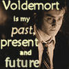 "mizstorge: Sepia photo of Harry Potter. Text reads ""Voldemort is my past, present, and future."" (Pwnd)"