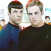 laitaine: star trek reboot spock and kirk on the bridge (star trek - kirk + spock - bridge close)