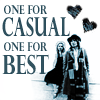 jinxed_wood: Romana and Four, with text saying 'one for casual, one for best' (DW - two hearts)