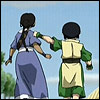 reflectedeve: Toph punching Katara in the arm, backs to the viewer. (this is how I communicate affection)