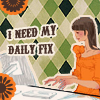 "nervesinpatterns: cartoon of woman at computer, text ""i need my daily fix"" (i need my daily fix)"