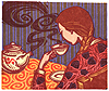 liv: A woman with a long plait drinks a cup of tea (teapot)