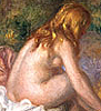 liv: oil painting of seated nude with her back to the viewer (body)