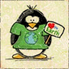 "orbitaldiamonds: penguin in a green shirt with Earth on it, ""<3 Earth"" sign (Default)"