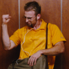 grammarwoman: Jensen boogies in the elevator (Jensen boogies)