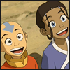 striped: Katara and Aang from A:TLA looking very happy and excited (squee)