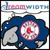 gem225: a dark blue sheep with the Boston Red Sox logo, dreaming the word Dreamwidth in a bubble over her head (dreamsheep red sox)