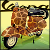 "likeaduck: A Vespa motorscooter with giraffe print paint job. ""Vespa"" logo appears in black behind the scooter. (Default)"