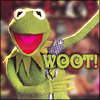 crypticgirl: Kermit the frog smiling and waving a hand (woot!)