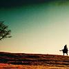 twtd: Mongol: green sky, tree, man on horse (Mongol- green horizon)