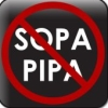 "gallinggalla: The words SOPA and PIPA, crossed out with int'l ""no"" symbol (red circle w/ diagonal line) ()"
