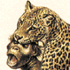 tornir: A detail from an artwork of a leopard having delivered a fatal head bite to a smallish ape or monkey. (Annoyed)