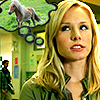murklins: photo of veronica mars, with thought bubble above head containing image of a pony. (pondering prezzies)
