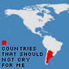 murklins: map of north and south america, argentina filled in with red. legend for color red: countries that should not cry for me (wah)