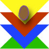 onyxlynx: 4 triangles, 3 pointing down, 1 up, 1 brown ellipse with purple border (Colorful)