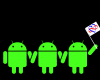 "memnus: Three green Androids; the rightmost waves a flag with the poly ""infinity heart"". (Poly Android pride)"