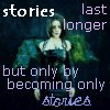 clare_dragonfly: woman with green feathery wings, text: stories last longer: but only by becoming only stories (Witchy: bottles)