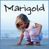 marigold_cadence: a little girl bending over on the beach with Marigold handwritten on it (Marigold: little girl on beach)