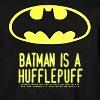 "wistfuljane: black background with the caption ""batman is a hufflepuff"" in yellow (batman is a hufflepuff)"