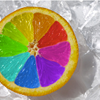 bluflamingo: half orange with segments in rainbow colours (Colby: FBI logo)