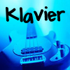 our_only_try: a blue guitar with Klavier written over it (Klavier: a blue guitar)