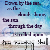 sqbr: pretentious quote over a seascape (naughty shell)
