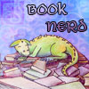 sqbr: A happy dragon on a pile of books (bookdragon)
