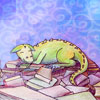 sqbr: A happy dragon on a pile of books (happy dragon)