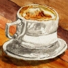 twistedchick: watercolor painting of coffee cup on wood table (coffee)