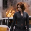 januar: Black Widow from the Avengers trailer with explosions behind her ([marvel] black widow)