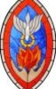 jic: stained glass window of haloed dove flying down into flame held between hands (Pentecost)
