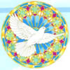 jic: round stained glass window of dove in flight (Pentecost Dove)