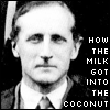mayhap: vintage photo with text how the milk got into the coconut (how the milk got into the coconut)