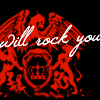 "scaramouche: Queen logo, with ""will rock you"" in text (queen will rock you)"