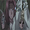 texchan: gojyo and a tied up sanzo (gojyo with gun)