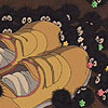 texchan: from spirited away: soot balls around chiharo's shoes (chiharo's shoes)