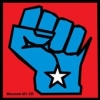 libelo: Blue fist shaped like Wisconsin against a red background. (fist)
