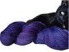 rainkatt: black cat hugging skein of blue/purple yarn (Simon yarn)