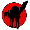 wobblies: Sabocat: IWW mascot, black cat on red circle (sabocat)