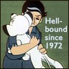 copracat: Kimba the White Lion and Roger Ranger hugging with the texty 'Hellbound since 1972' (hellbound)