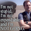 copracat: Rodney from SGA with text 'I'm not stupid, I'm not expendable and I'm not going' (rodney - not stupid)