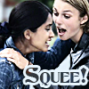 copracat: Close up of Jess and Jules with text 'Squee!' (omgsquee)
