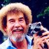 pajaroenvuelo: bob ross holding a happy little raccoon ({ happy little raccoon })