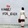 "murklins: Woman facing away, observing her handiwork. She's changed wall graffiti from ""ANARKY FOR EVER"" to ""ANARCHY FOREVER"". (red pen)"