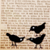 murklins: Indistinct background of newspaper or book page, with three black bird shapes in bottom right corner of foreground. (news)