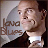 copracat: Rueful JIm with a takeaway cup and the text Java Blues (Jim - Java Blues)