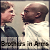 copracat: Riley fisting Forrest's shirt with the text 'Brothers in Arms' (forrest)