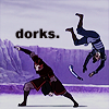 "januar: Sokka and Zuko from Avatar: The Last Airbender fighting and text ""dorks."" ([atla] dorks)"